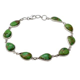 Handmade Sterling Silver 'Serenity in Green' Turquoise Bracelet (India)
