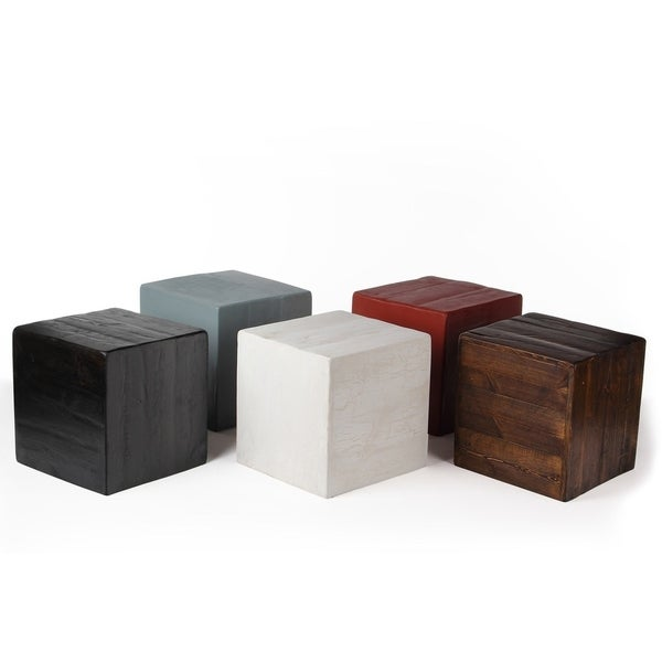 Shop Rustic Cube Accent Stool / Side Table / Ottoman (USA