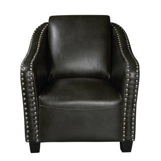 Charcoal Gray Faux Leather Accent Chair with Pewter Nailhead Trim