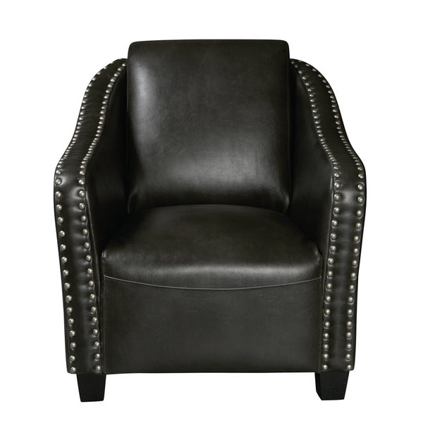 Shop Charcoal Gray Faux Leather Accent Chair With Pewter