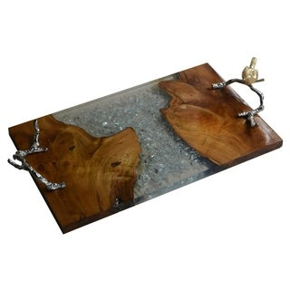 "Alvada Teak Wood Tray, 23.5x12x4"""