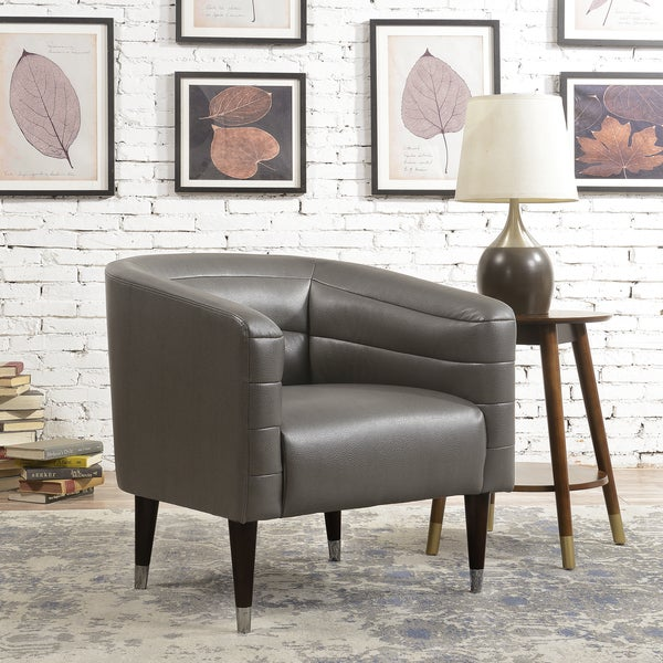 Shop Mid Century Modern Grey Faux Leather Accent Chair