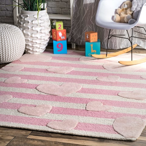 nuLOOM Pink Kids Contemporary Hand Tufted Stripes and Hearts Wool Area Rug