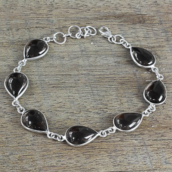 Handmade Sterling Silver X27 Mystical Dewdrops Smoky Quartz Bracelet