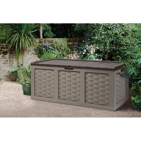 153 Gallon Plastic Deck Box, Mocha Brown