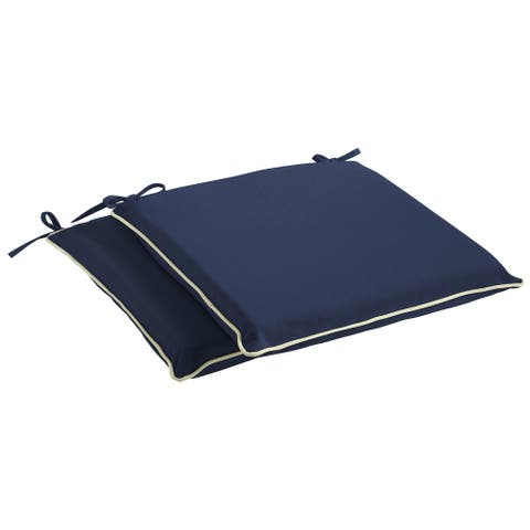 Humble + Haute Sunbrella Canvas Navy and Sunbrella Canvas Natural Indoor/ Outdoor Cushion, Set of 2