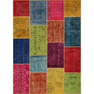 String Matter Original Over-dyed Patchwork Rug (5' x 7')