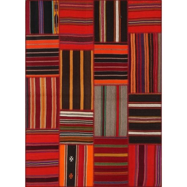 String Matter Tribal Kilim Patchwork Rug (5' x 7') - 5'3 x 7'3