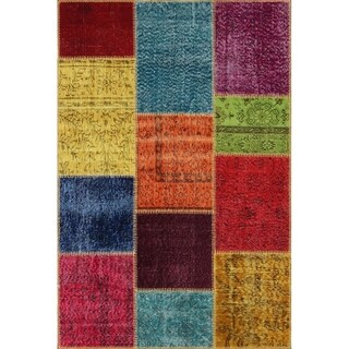 String Matter Original Over-dyed Patchwork Rug (4' x 6')