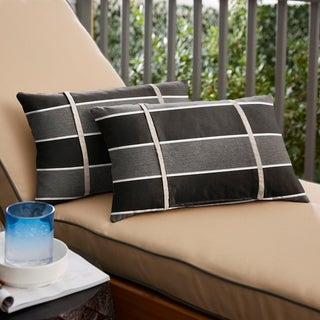 Humble + Haute Sunbrella Peyton Granite and Cast Silver Double Small Flange Indoor/ Outdoor Lumbar Pillow, Set of 2