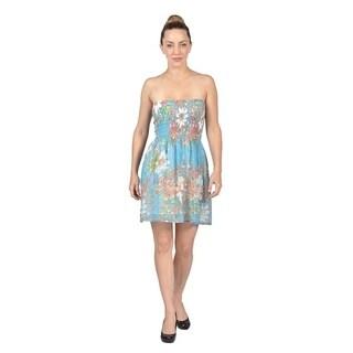 Women's Pull on Ruched Mini Dress Blue