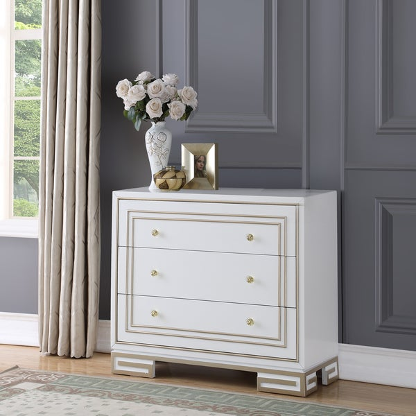 Shop Retro Hand Painted White And Gold Finish Accent Chest