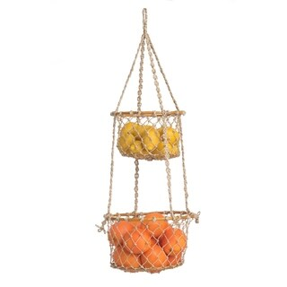 Fab Habitat Indoor Storage Basket -Prairie - 2 tier Hanging Macrame Basket
