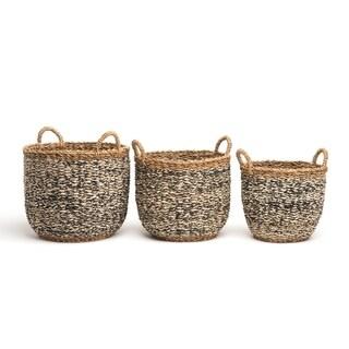Fab Habitat Indoor Storage Basket -Ebony - Natural and Black 3 piece Basket Set