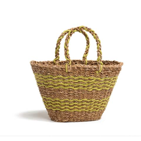 Handmade Geneva Lime Green Sea Grass Bag (Bangladesh)