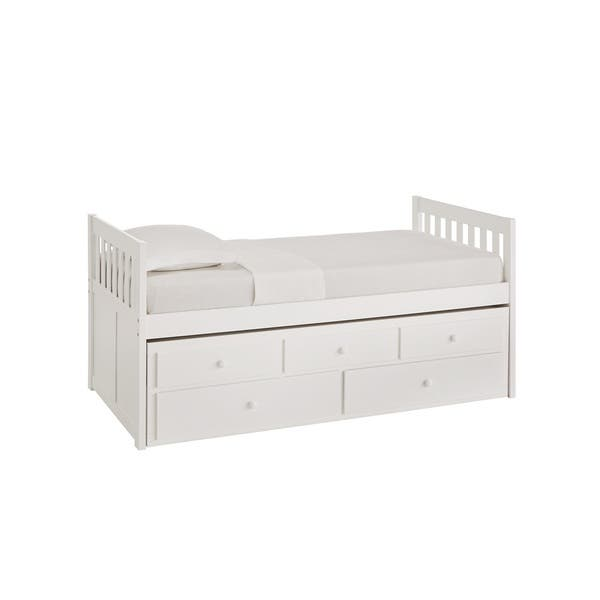 Hunter Twin White Wood Captains Bed With Trundle By