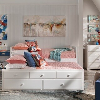 Hunter Twin White Wood Captains Bed with Trundle by iNSPIRE Q Junior