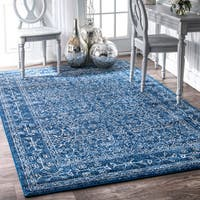 nuLoom Vintage Medieval Floral Oriental Dark Blue/Tan/Multicolored Synthetic Fabric Rug (6' 7 x 9')