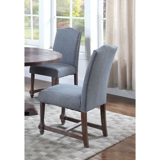 Best Master Furniture Rustic Wood Fabric Side Chairs (Set of 2)