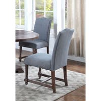 Best Master Furniture Fabric with Rustic Wood Side Chairs (Set of 2)