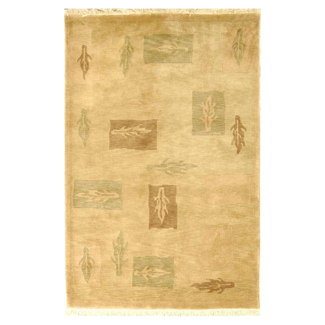 Safavieh Hand-knotted Tibetan Beige/ Multi Wool Rug (6' x 9')