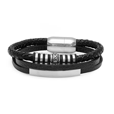 Steeltime Men's Black Leather Three Strand Bracelet with Stainless Steel Accents