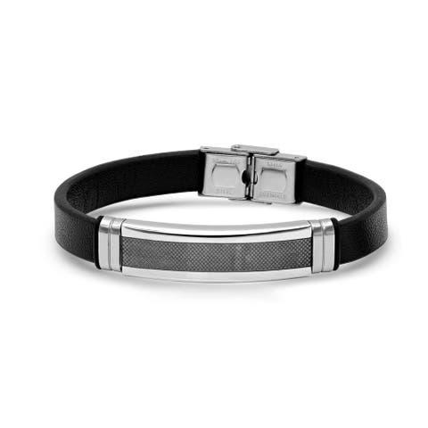 Steeltime Men's Black Leather and Stainless Steel ID Bracelet