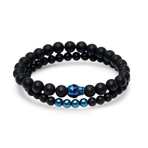 Steeltime Men's Set of 2 Black Lava Beaded Bracelets with Blue IP Stainless Steel Skull and Beads