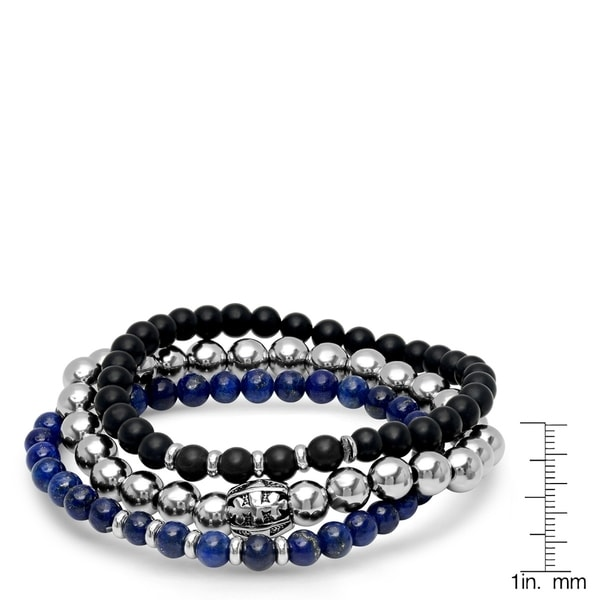 Steeltime Men's Set of 3 Black Lava, Blue Lapis, and Stainless Steel Beaded Bracelets with Cross Barrel in 2 Colors
