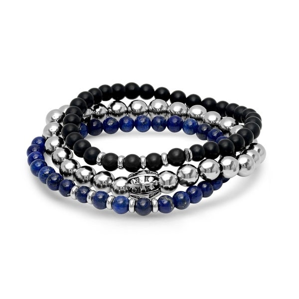 Steeltime Men's Set of 3 Black Lava, Blue Lapis, and Stainless Steel Beaded Bracelets with Cross Barrel in 2 Colors. Opens flyout.