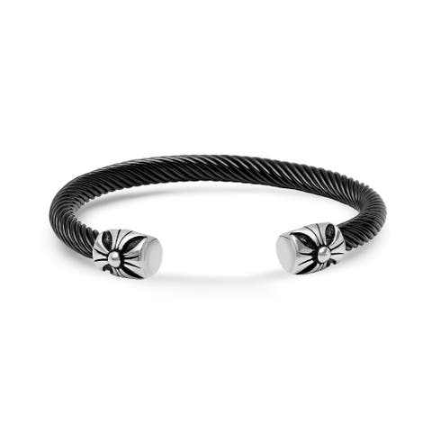 Steeltime Men's Black Cable Wire Cuff Bracelet with Stainless Steel Cross Ends in 2 Colors