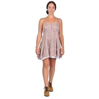 Womens 3 Buttons Shoulder strap Mini Dress (Large, Brown)