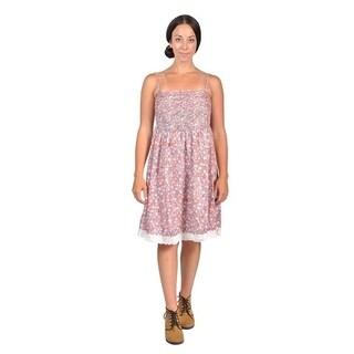 Womens Ribbed-Front Shoulder Strap Dresses (Large, Red)