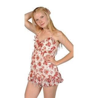 Women's Floral Spaghetti Strap Mini Dress Top (Large, Red)