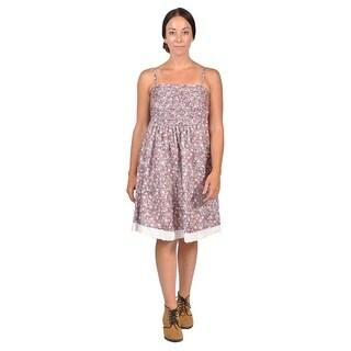 Womens Ribbed-Front Shoulder Strap Dresses (Large, Pink)