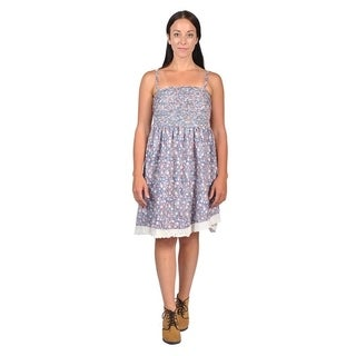 Womens Ribbed-Front Shoulder Strap Dresses (Large, Blue)