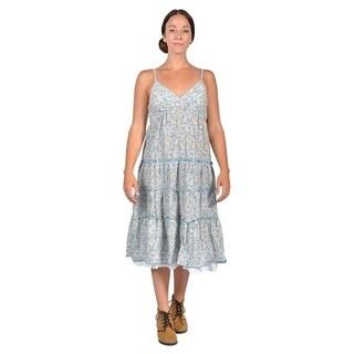 Women's Multi Color Shoulder Strap Dresses (Large, Blue)