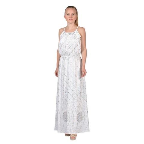 Women's Chiffon Jumpsuit Maxi Dress White (Large)