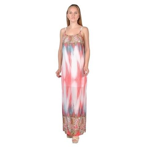 Women's Groovy Printed Fashion Women Maxi Dress (Large)