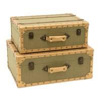 Three Hands Brown Wood 2-piece Storage Suitcase Set