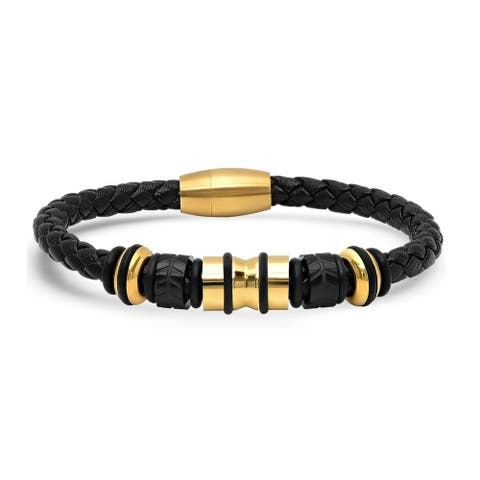 Steeltime Men's Genuine Black Leather Braided Bracelet with Gold Tone Stainless Steel Accents in 2 Colors
