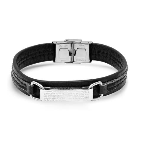 Steeltime Men's Black Leather and Stainless Steel Our Father Prayer Bracelet in 2 Colors