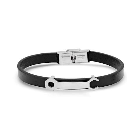Steeltime Men's Black Leather Bracelet with Stainless Steel Wrench Matte ID in 2 Colors