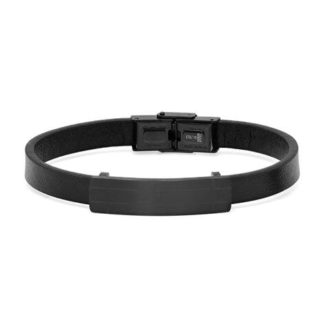 Steeltime Men's Black Leather Bracelet with Stainless Steel Matte ID in 2 Colors