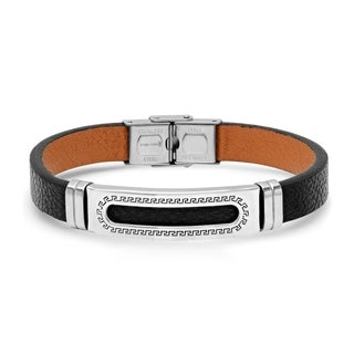 Steeltime Men's Black Leather Front with Brown Leather Backing Bracelet with Stainless Steel Greek Key ID Accent in 3 Colors