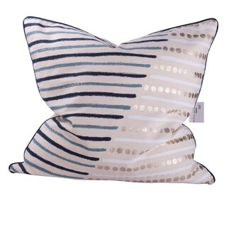 Blue and Cream 22-inch Striped Throw Pillow