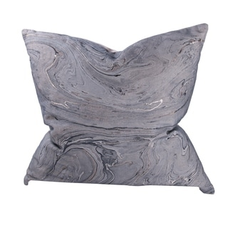 Gray and Gold 22-inch Marble Throw Pillow