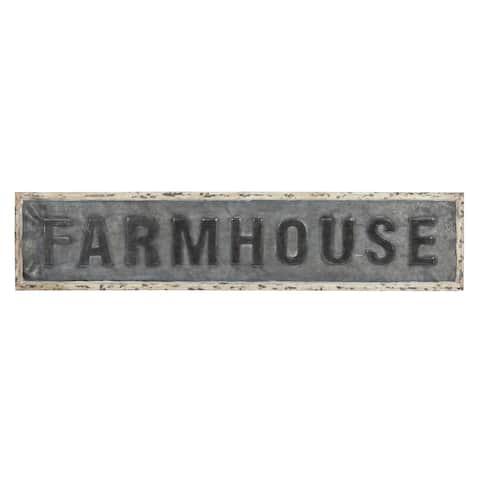 Kate and Laurel Okeene Farmhouse Galvanized Metal Wall Art Plaque