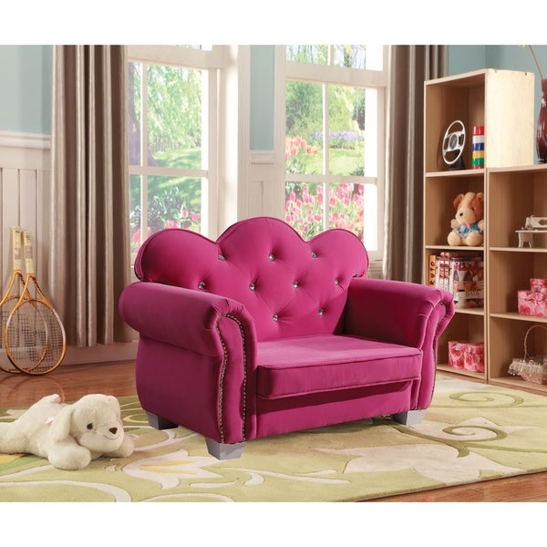 Samatha Pink Upholstered Youth Club Chair - Free Shipping Today ...