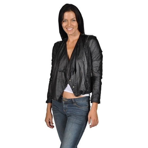 Blank NYC Womens Punk Spike Faux Leather Motorcycle Jacke...